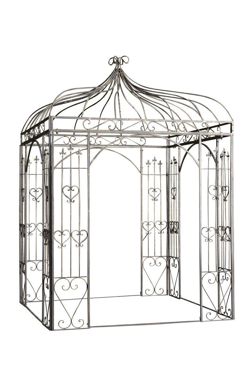 CLP quadratischer Rosenbogen Metall-Pavillon MANJA, ca. 200 x 200 cm, Höhe 305 cm – bis zu 6 Farben wählbar antik-weiß online bestellen