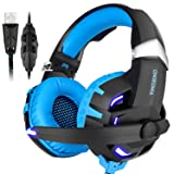 BASEIN Gaming Headphone, USB 7.1 Channel Noise Cancelling Over Ear Computer Headphones with Microphone Gaming Headset for PS4, PC, Laptop (Color: Blue)