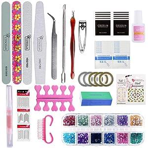 Saint-Acior 10 Colors Gel Nail Polish Kit with 48W LED Nail Lamp Top Base Coat Manicure Tools Nail Design Art (Color: Gel polish kit)