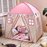 Love Tree Teepee Tent for Kids Play Tent with Mat Children Fort Canvas Canopy for Indoor Outdoor with Carry Bag Portable Playhouse in Pink for Girls (Color: Pink)