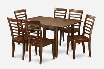 East West Furniture MILA7-MAH-W 7-Piece Dinette Table Set
