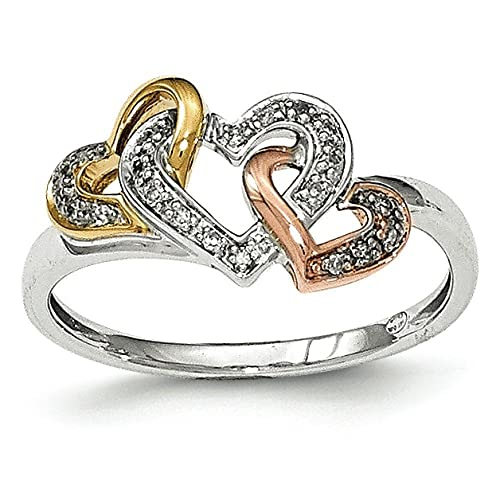 14ct Tri-Color Gold Diamond Heart Ring