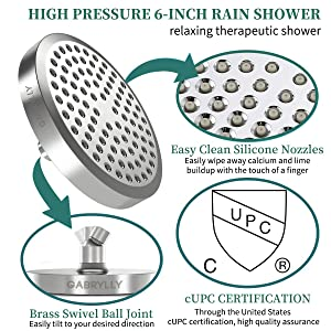 Gabrylly Shower Faucet, Single-Function Tub and Shower Faucet Set with 6-Inch Spray Rain Shower head Pressure Balance Valve with Trim and Diverter, Chrome (Rough in Valve Include)