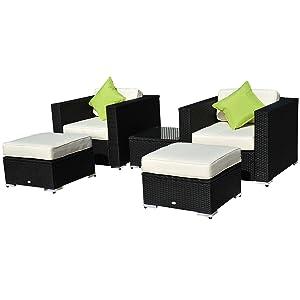 Polyrattan Gartenmöbel 13tlg. Polyrattan LoungeSesselSet Gartenmöbelset Sofa Sitzgruppe Alu Rattan schwarz inkl. KissenKundenbewertungen