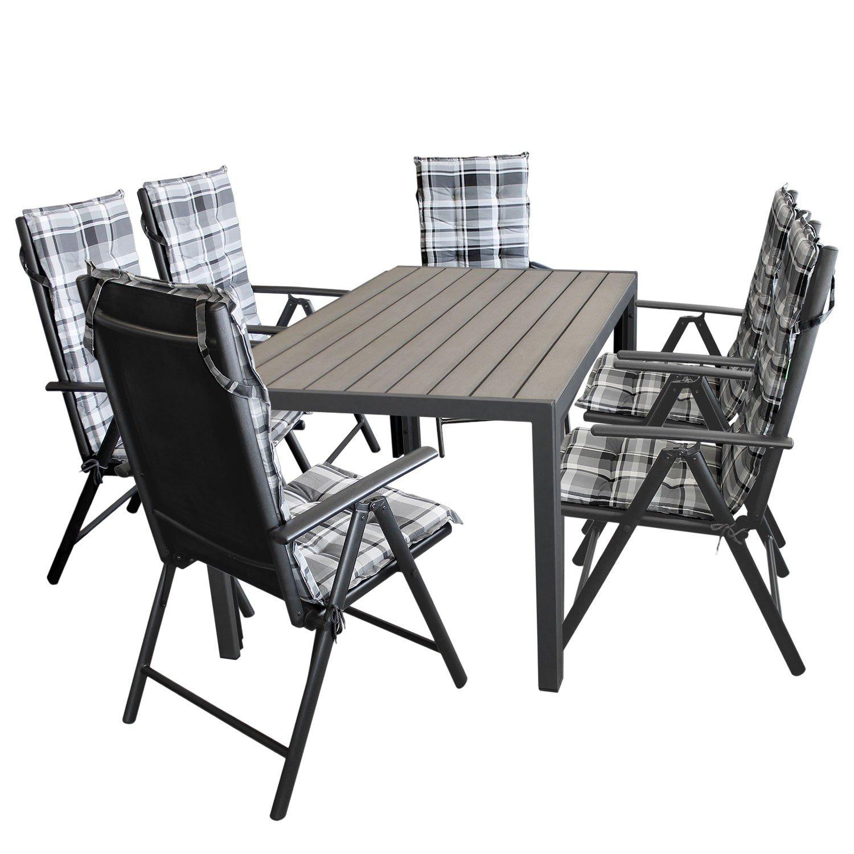 13tlg. Gartengarnitur Gartenmöbel Terrassenmöbel Set Sitzgarnitur Sitzgruppe Polywood 150x90cm grau + 6x Hochlehner, 2x2 Textilenbespannung, Lehne 7-fach verstellbar + 6x Stuhlauflage grau kariert