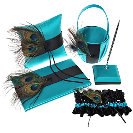 Topwedding Peacock Feather Featured Satin Ring Pillow Basket Guest Book and Pen Set with Garter