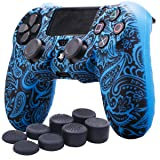 YoRHa Water Transfer Printing Flowers Silicone Cover Skin Case for Sony PS4/slim/Pro Dualshock 4 controller x 1(Blue) With Pro thumb grips x 8 (Color: leaves blue, Tamaño: water print)