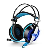 VOXLINK KOTION EACH GS700 3.5mm Gaming Game Headset Headphone Earphone Headband with Mic Stereo Bass LED Light for PS4 PC Computer Laptop Mobile Phones (Blue) (Color: Black and blue)
