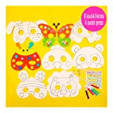 Eye Masks to Decorate, Strong Card Carnival Masks, 8 Assorted Designs for Children to Paint, Creative Arts and Crafts kit for Ages 3 to 8 Kids Parties, with paint pens (Color: 16 Masks to Decorate)