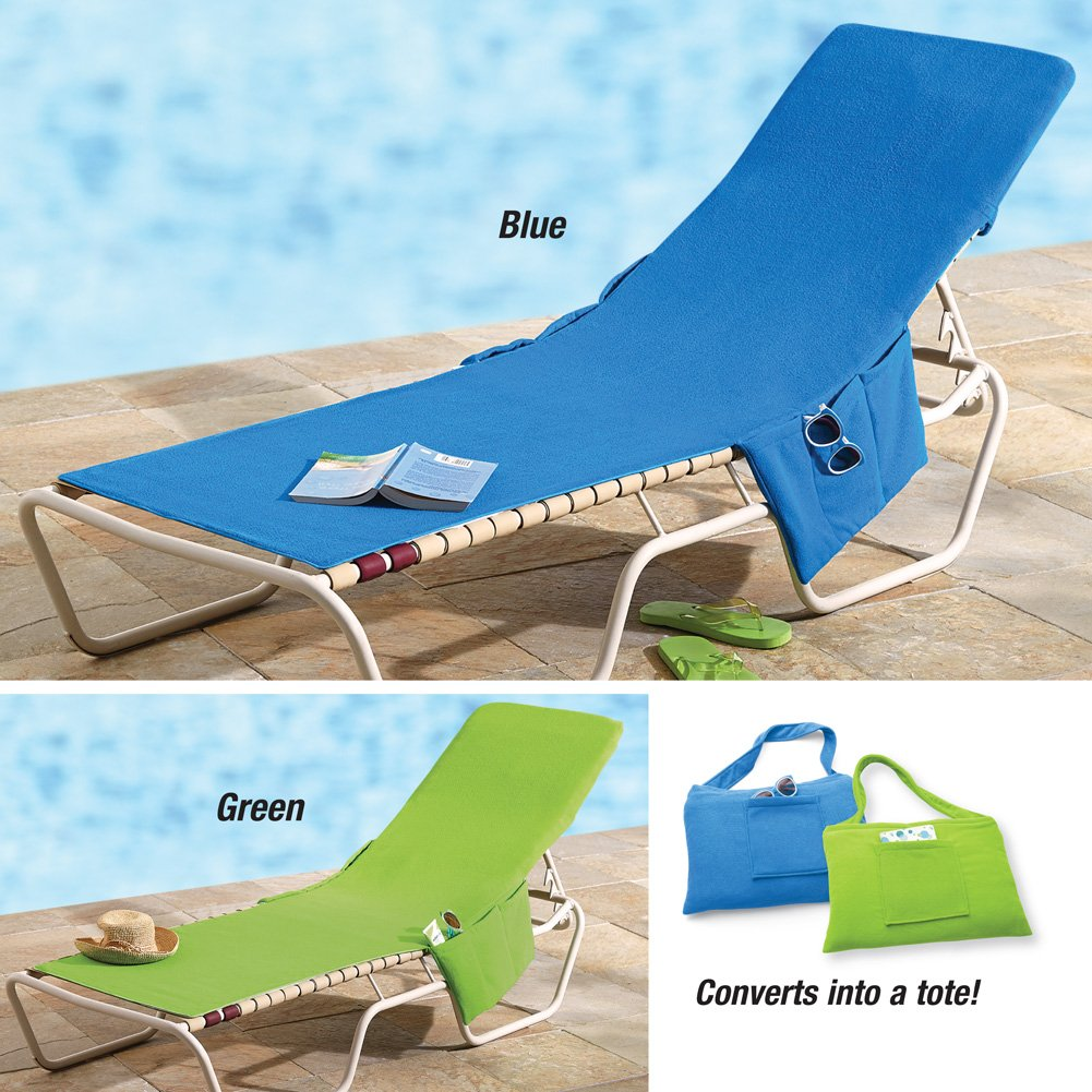 Beach Swiming Pool Lounge Chair Cover Towel with Pockets Beach Bag Blue or Gr