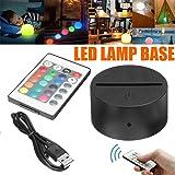 LED Lamp Bases for 3D Led Night Light, ABS Acrylic Black 3D LED Lamp Night Light Base Tough+USB Cable+Remote Control