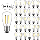 INNOCCY Vintage S14 LED Light Bulbs, 2W 200 Lumens 2700K SoftWarm Waterproof Bulb Great for Outdoor String Lights, 30 Pack (Color: Yellow, Tamaño: 30 Pack)