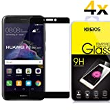 [4-PACK]-KHAOS For Huawei P8 lite 2017 [Tempered Glass] Screen Protector, [Full Cover] [Black] Anti-Fingerprint, Bubble Free,Lifetime Replacement Warranty