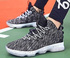 0a287730fef2ec JIYE Men's Fashion Basketball Shoes Women's Breathable Flyknit Sneakers ,Gray,40EU=8US-Men/8.5US-Women ...