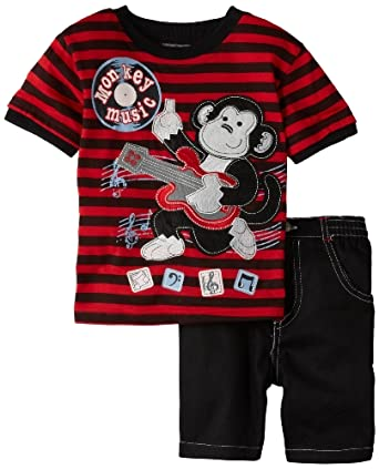 Little Rebels Boys 2-7 2 Piece Monkey Music Set, Black, 2T