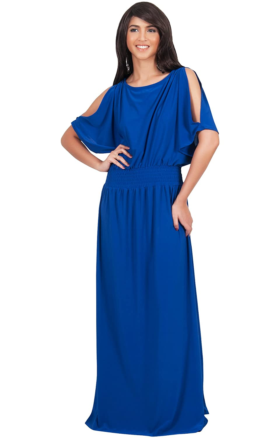 Koh Koh Women's Split Sleeves Smocked Elegant Cocktail Long Maxi Dress - Small - Sapphire Blue at Amazon Women's Clothing store