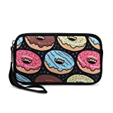 Unisex Portable Washable Travel All Smartphone Wristlets Bag Clutch Wallets, Change Purse,Pencil Bag,Cosmetic Bag Pouch Coin Purse Zipper Change Holder With Strap (Cool Bread Donuts) (Color: Cool Bread Donuts)