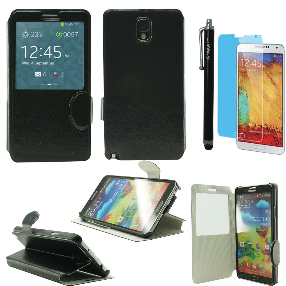 Areser(TM) S-View Flip Cover Leather Case with kickstand - Black