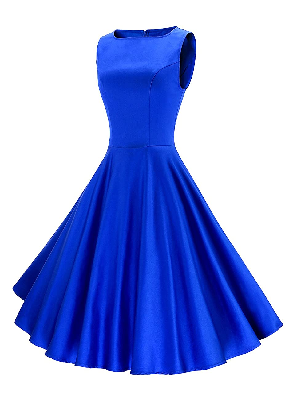 Anni Coco Women's Classy Audrey Hepburn 1950s Vintage Rockabilly Swing Dress blue 1