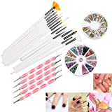 Nail Art Set, 22 Pcs DIY Nail Art Design Tools Include 15 Drawing Polish Brush Set,12 Colors Rhinestones,5 Dotting Pens, 3D Nail Art Gold/Silver Studs