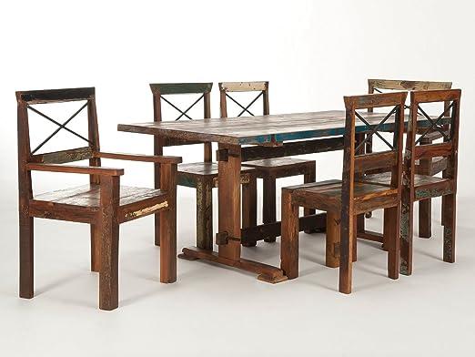 Massivum Cruzar Esstisch mit 6 Stuhlen, Holz, bunt, 90 x 180 x 78 cm