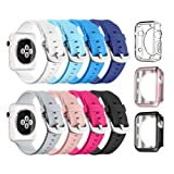 Apple Watch Sport Band 38mm, UMTELE Soft Silicone Replacement iWatch Bands Sport Strap with Buckle Clasp for Apple Watch Sport, Series 2, Series 1,Series 3, 8 Pack