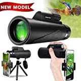 Monocular Telescope for Adult, [Newest 2019] High Power 12x50 Compact Scope for Smartphone, Waterproof Shockproof High Definition Bak4 Prism Fmc Monoscope for Bird Watching, Hunting, Camping (Color: BLACK, Tamaño: Monocular)
