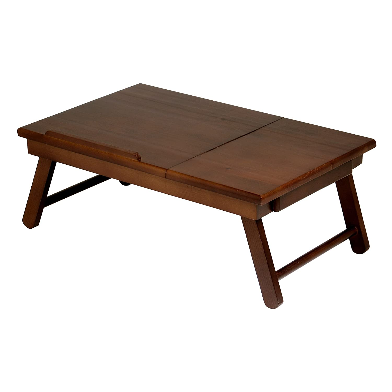 Wood Lap Desk Table Storage Drawer Foldable Legs Portable