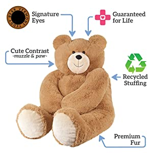 Vermont Teddy Bear Giant Teddy Bear - Big Teddy Bear, 4 Foot, Bow (Tamaño: 4 foot Bear with Red Bow)