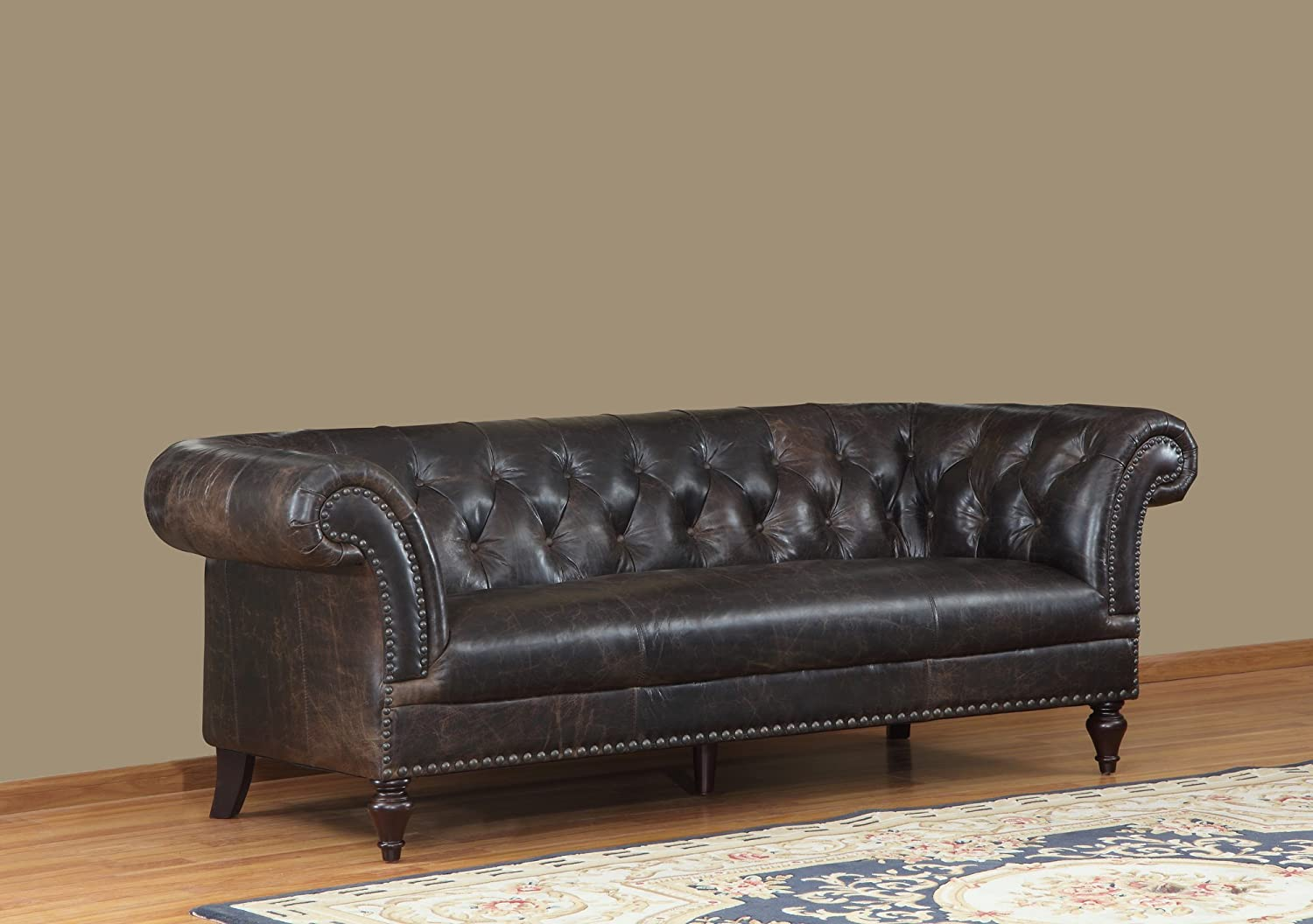 Lazzaro Jaffna Sofa - 91 by 39 by 32-Inch - Brompton/Chocolate