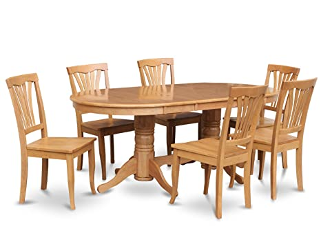 East West Furniture VAAV7-OAK-C 7-Piece Dining Table Set