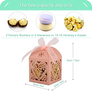 COTOPHER 100 Pack Love Heart Laser Cut Candy Boxes Wedding Party Favor Boxes Small Gift Boxes for Wedding Bridal Shower Baby Shower Birthday Party (100, Pink) (Color: Pink)