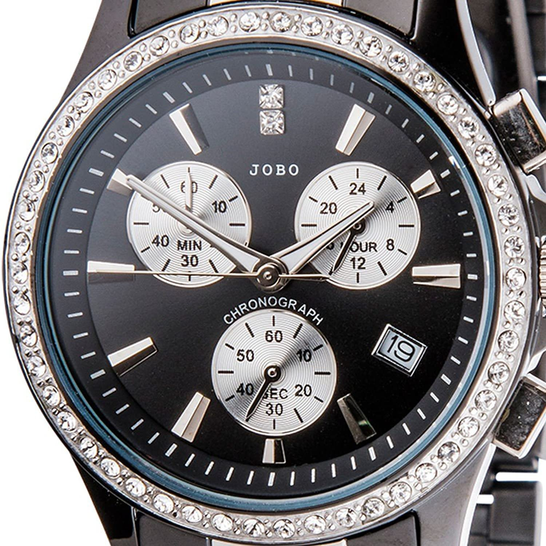 Damen-Armbanduhr Quarz Chronograph Edelstahl mit Kristall-Elements jetzt kaufen