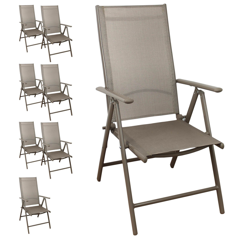 8 Stück Aluminium Gartenstühle Hochlehner, hochwertige 4x4 Textilenbespannung, 8-fach verstellbar, klappbar, Champagner - Liegestuhl Positionsstuhl Gartenstuhl Klappstuhl Gartenmöbel Terrassenmöbel Balkonmöbel