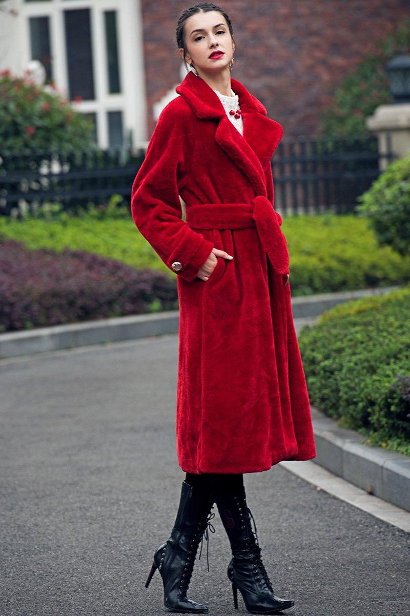 YIGELILA Women's Vintage Oversized Shearling Belted Long Fur Coat Wool Outwear 1