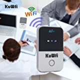 KuWFi 4G WiFi Router Unlocked Travel Partner 4G LTE Wireless 4G Router with SIM Card Slot Support LTE FDD B1/B3/B5 Support AT&T and U.S. Cellular 4G (Color: White)