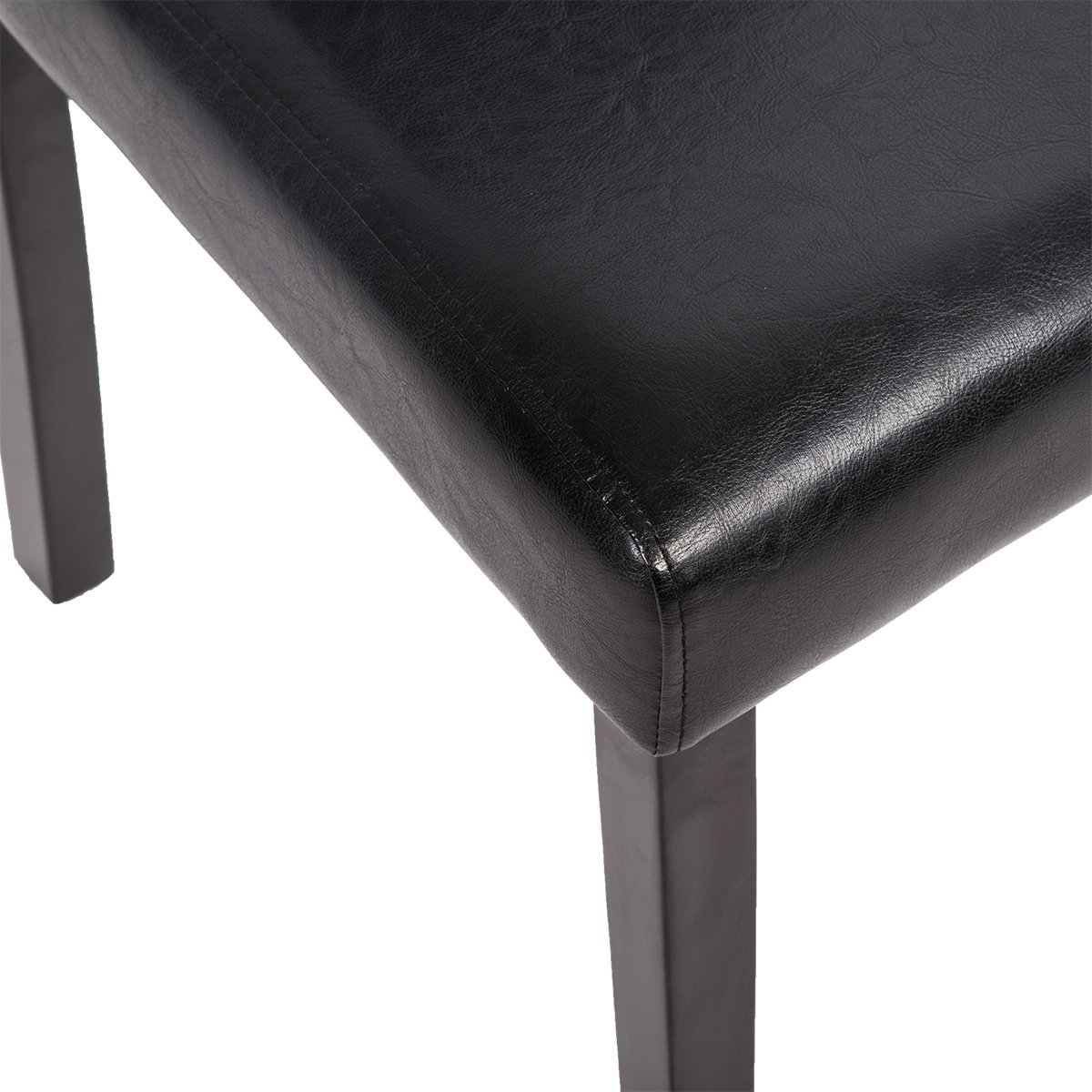 Mr Direct Urban Style Solid Wood Leatherette Padded Parson Dining Chairs Set Of 2 (4, Black)