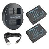 DMW-BLC12 Newmowa Battery (2 Pack) and Dual USB Charger for Panasonic DMW-BLC12, DMW-BLC12E, DMW-BLC12PP and Panasonic Lumix DMC-FZ200, DMC-FZ1000, DMC-G5, DMC-G6, DMC-G7, DMC-G85, DMC-GH2, DMC-GX8 (Tamaño: 2*Battery + 1* Dual Charger)