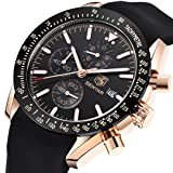 BENYAR Men's Waterproof Casual Fashion Business Silicone Men's Watch(Black) (Color: black)