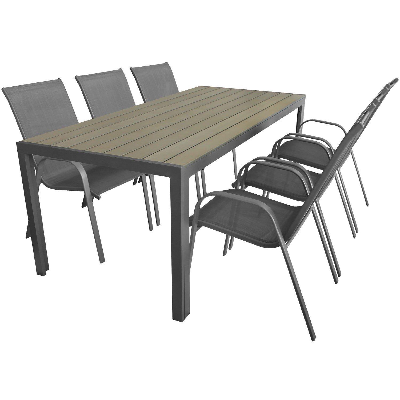 7tlg gartengarnitur gartentisch 205x90cm polywood alu 6x stapelstuhl stahlgestell 2x1. Black Bedroom Furniture Sets. Home Design Ideas