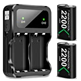 Xbox One Battery Pack 2x2200mAh Rechargeable Battery for Xbox One/Xbox One S/Xbox One X/Xbox One Elite Wireless Controller (Battery&Charger Set, Green) (Color: Green, Tamaño: 2x2200mAh battery set)