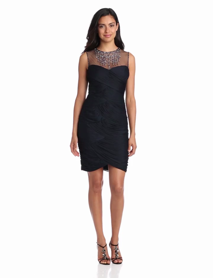 Adrianna Papell Womens Tulle Necklace Dress
