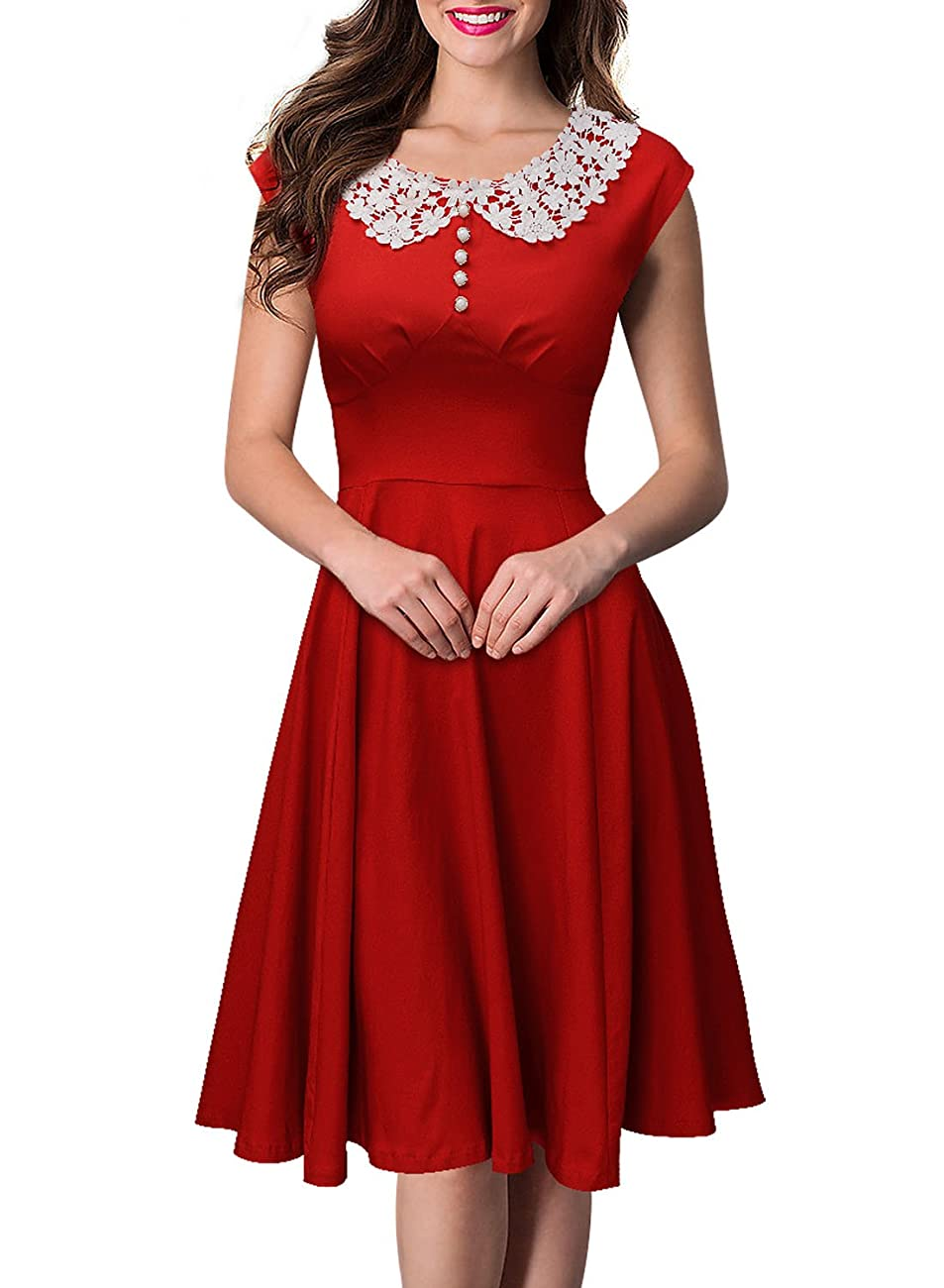Miusol Women's Classy Vintage Audrey Hepburn Style 1940's Rockabilly Evening Dress 0