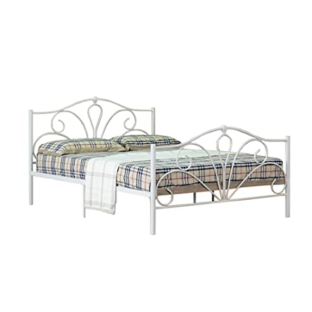 5ft King Modern Emmie Metal Bed Stead in Ivory with Harper Mattress