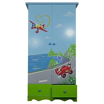 Childrens armario estantes 2cajones de madera niños azul armario de almacenamiento Rail