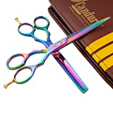 "Hairdressing Scissor Shears for Barber and Salon Styling Hair Cutting Thinning Set of 5.5"" Multi Color Fix Screw Stainless Steel with Comb and Leather looking Case (Color: MHS-U-001, Tamaño: 5.5"