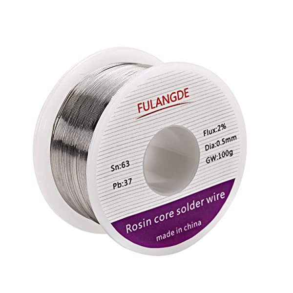 EULANGDE 63-37 Tin Lead Rosin Core Solder Wire with High Fluidity and Gloss and to Nice Shiny Joints For Electrical Soldering 0.5mm 0.6mm 0.8mm 1.0mm 50g 100g 1lb (0.5mm/100g) (Tamaño: 0.5mm/100g)