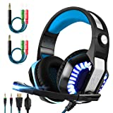 Gaming Headset for Xbox One,PS4,PC,Laptop,Tablet with Mic,Pro Over Ear Headphones,Two Free 3.5mm Y Splitter,Noise Canceling,USB Led Light,Stereo Bass Surround for Kids,Mac,Smartphones,Nintendo Switch (Color: blue)
