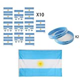 KingShark World Cup 2018 Set, Football Suit Fans Scarf, Argentina, Hand Held Flags, Big National Flag, Tattoo Stickers, Silicone Wristbands, Party Club Bar Decorations Festival Celebration (Color: AR)