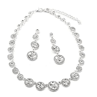 Silver Crystal Rondelle Dangle Earrings & Circle Shape Bling Connection Necklace Jewelry Set